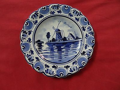 Holland delft hand painted plate vtg blue and white plate Windmill Hanging Wall+