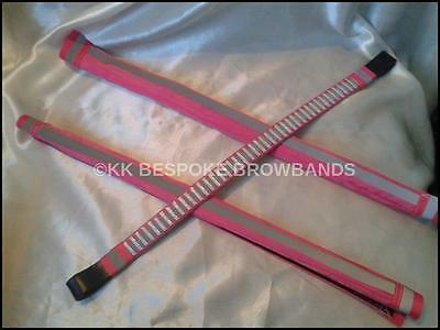 HI VIZ / Reflective Horse Browband with Matching Rein Covers -  ~ PINK