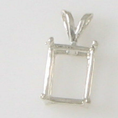 Prenothced 9X7 Emerald Cut Pendant Setting Cast In Sterling Silver Cp9X7Ecss