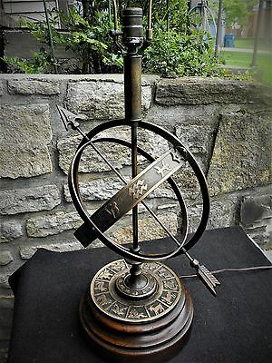 Vintage Frederick Cooper Astrological Sundial Zodiac Armillary Lamp‏