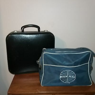 Vintage Lot Airline Luggage Pan AM Air India Carry On Bags
