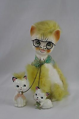 Vintage Ceramic Mama Cat with Kittens on Chains Leashes Furry Glasses Japan