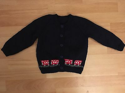 New hand knitted boys navy blue cardigan with red buses size 12-18 months