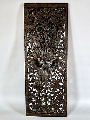 "Lotus Design Solid Teak Wood Carving Wall Panel Art Thailand 35.5"" x 13.25"""