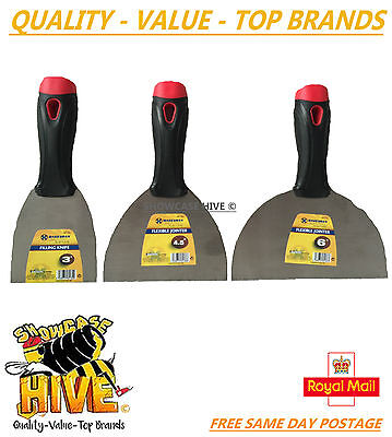 """3 x MARKSMAN SET - ONE 3"""" FILLING KNIFE TWO FLEXIBLE PUTTY JOINTER 4.5"""" & 6"""" NEW"""