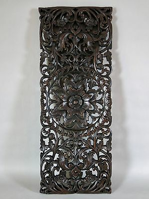 "Lotus Design Solid Teak Wood Carving Wall Panel Art Thailand 35"" x 13.25"" x 1"""