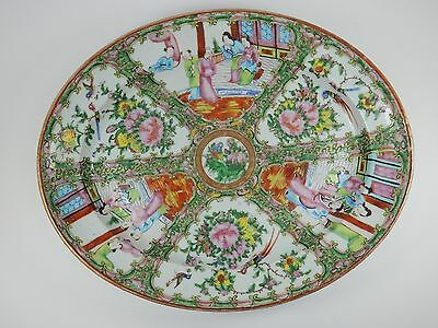 Antique Chinese Export Rose Medallion Serving Platter 15 inches  19th century