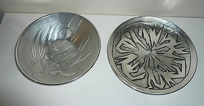 Vintage Don Sheil Decorative Metalware Plates Both Signed