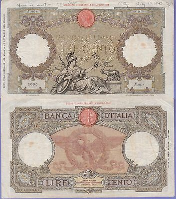 Italy 100 Lire Banknote 1942 Very Fine Grade Condition Cat#55-B-1695