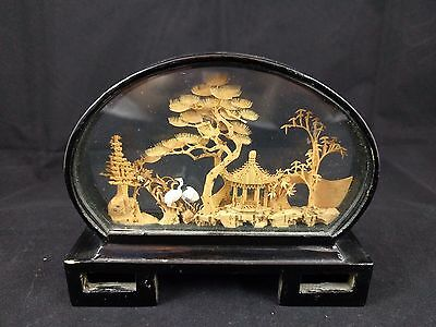 Vtg Asian Oriental Chinese Lacquer Diorama Cork Art Sculpture CRANES