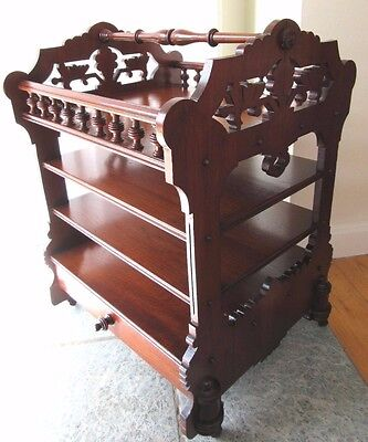 Antique Victorian Walnut Canterbury Carved Pierced Fretwork Stand Table Magazine