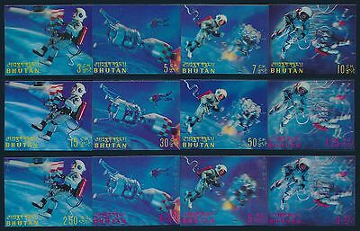 Bhutan 1967 3D Space Stamps 12v Complete Set. MNH