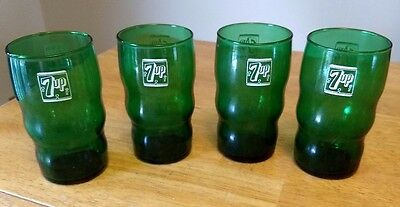 """Set of (4) Vintage 1950s 7UP Glass Tumbler 4 ¾"""" Forest Green 1950's 7 up soda"""