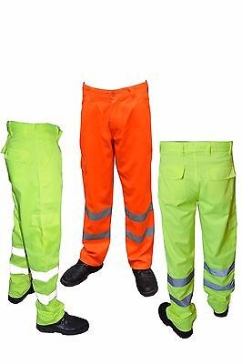 Hi Viz Orange Trouser Black Yellow Navy Work wear Cargo Railway Highway trouser
