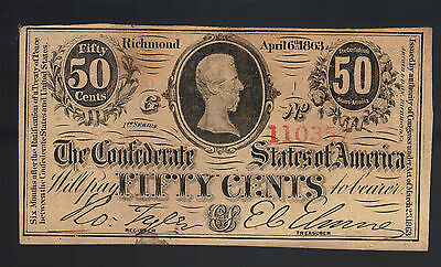 50¢ 1863 Richmond Virginia Confederate Currency T63 Old Rebel CSA Note Bill