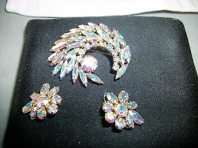 Sherman Brooch and Earrings Set Vintage Signed-  Irridescent MINT CONDITION