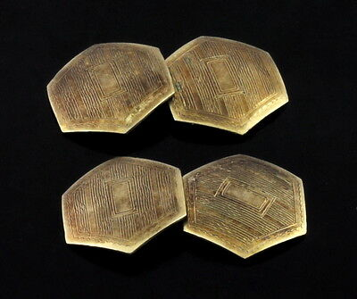 Antique Art Deco Nouveau Gold Filled Hexagon Cufflinks c 1920s