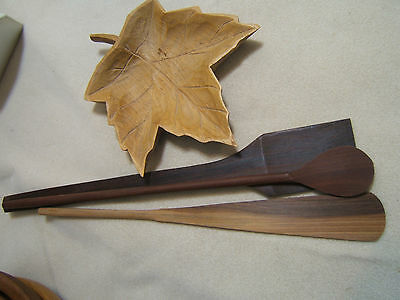 Vtg. Signed Canada Quebec Folk Art Carved wood Maple Leaf Dish + Wood Utensils