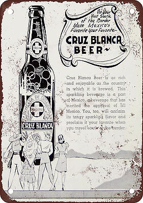 "7"" x 10"" Metal Sign - 1941 Cruz Blanca Mexican Beer - Vintage Look Reproduction"