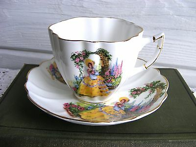 Vintage Victoria Bone China Tea Cup & Saucer England, Garden Southern Lady