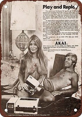 """7"""" x 10"""" Metal Sign - 1972 Akai VTR Recorder Play and Replay - Vintage Look Repr"""