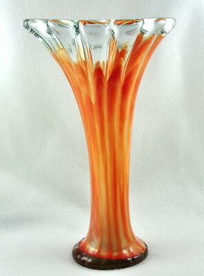 Vintage Murano Handblown Vase Orange Unique Swirled Thick Glass Rare TALL