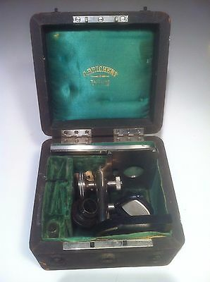 Antique Microscope C. Reichert - in Wood Box with Key