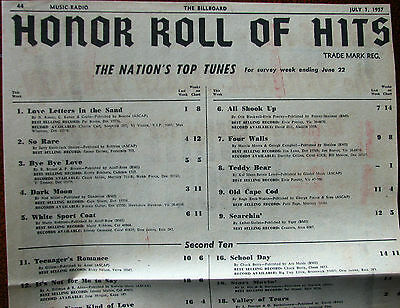 Billboard Magazine Music Charts for July 1, 1957