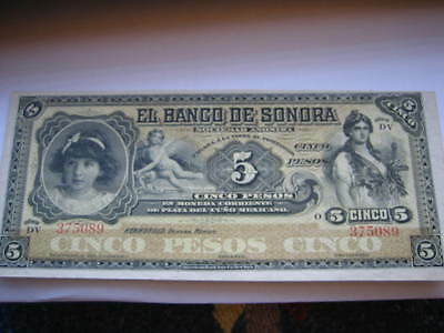 Choice Uncirculated El Banco De Sonora  Five Peso Mexican Banknote