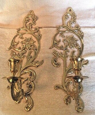 Pair of Shiny Ornate Brass Wall Sconces Taper Candle Holders, EUC