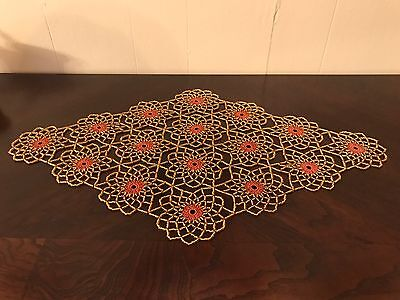 Hand Made , Gold & Copper Crochet Beaded Doily