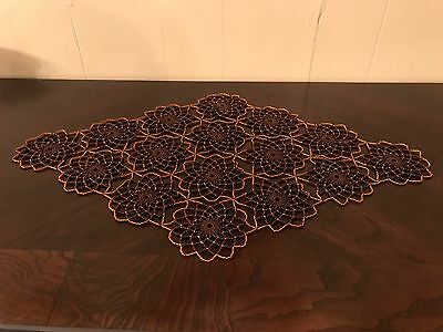 Hand Made , Brown $ Gold  Crochet Beaded Doily