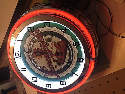 "Double NEON 19"" Leinenkugel's Beer Clock A Great Clock at a Great Price !!"