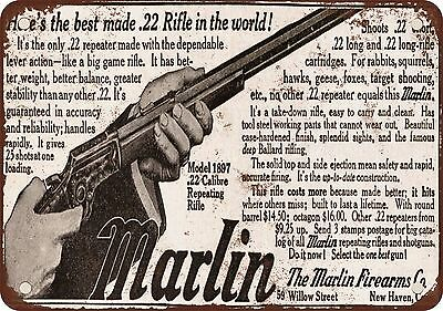 "7"" x 10"" Metal Sign - 1915 Marlin .22 Rifles - Vintage Look Reproduction"