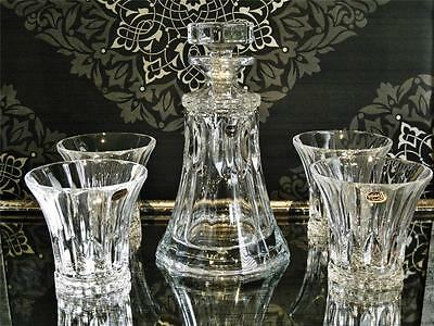 """Tennessee"" Contemporary Bohemia Crystal ships decanter & 4 tumblers set, NEW"
