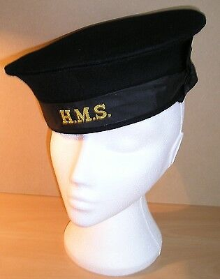 WW-II Private Purchase RN Rating's Blue-Top Boarding Cap with HMS Tally Band #2
