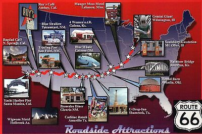Route 66 Map showing Roadside Attractions, Chicago to Los Angeles, CA - Postcard