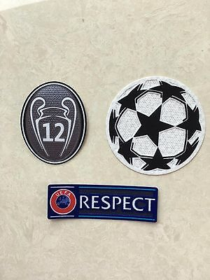 Set Of UEFA Champions League Respect + Star Ball + Trophy 12 Grey Patch Badge