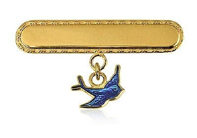 Baby Girl 925 S/silver-22K G/ Pl Baby Brooch With Enamelled Bluebird Drop Charm