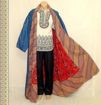 Antique Long Traditional Uzbek Handmade Silk-Cotton Striped Robe Chapan A9723