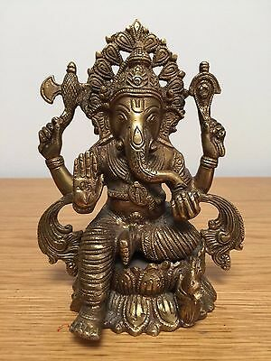 Hand Engarved Hindu God Ganesh Brass Metal Statue -  Sitting Ganesha Sculpture
