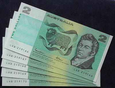 1985 Australia Two Dollars Banknotes - Consecutive Run of  5 - LHB - UNC Mint