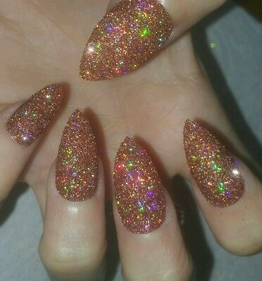 PARTY NAILS Stiletto False Nails DARK GOLD HOLO Sparkle Full Pure Glitter Bling