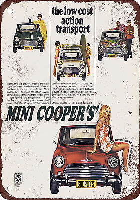 "7"" x 10"" Metal Sign - 1969 Mini Cooper - Vintage Look Reproduction"