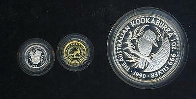 1990 Australian Tri-Metal Proof Set - Gold, Silver, Platinum