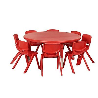 """ECRK-ELR14406P8X10RD-ECR4Kids 45"""" Round Resin Activity Table w/ Eight 10"""" Chair"""