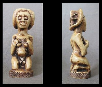 Old HEMBA LUBA Carved Miniature Figure of a Maternity - CONGO - early 1900