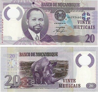 Mozambique 20 Meticais 2011 P-149 UNC Polymer Banknote - Rhino + FREE NOTE
