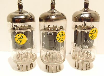 """3 x ECC 82   Philips for Medicine """"closed disk getter """" code  Tested W19  TOP!"""