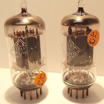 2 x ECC 83  <> Best off Telefunken Long Plate SMOOTH - ONE hole in plate  NOS ?